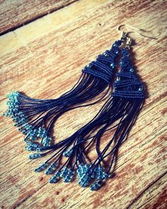 A personal favorite from my Etsy shop https://www.etsy.com/listing/525809239/macrame-earrings-dark-blue-with-beads