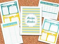 Fresh and Organized: - Recipe Binder printables Great site!