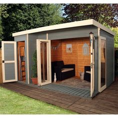 12 x 8 Waltons Contemporary Summerhouse with Side Shed shed design shed diy shed ideas shed organization shed plans