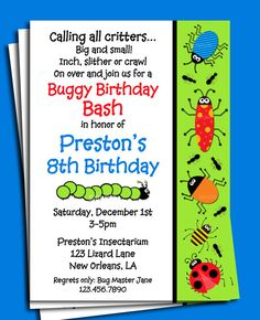 Bug Invitation Printable  Buggy Birthday Bash by ThatPartyChick, $15.00