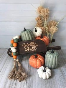 This listing is for the gourd-geous farmhouse bead garland. It's made from hand painted wooden beads on a twine sting with handmade twine tassels. It's approx 35 inches long. This garland goes great on a tier tray or coffee bar Autumn Decorating, Porch Decorating, Decorating Ideas, Pumpkin Decorating, Fall Home Decor, Autumn Home, Blue Fall Decor, Fall Mantle Decor, Fall Wagon Decor
