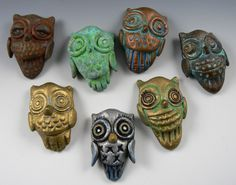 These are polymer owls i made from polymer and coated with various Swellegant metals, patinas and dyes - just shows the range of effects!