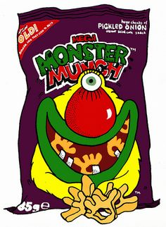 My fave crisps growing up - Pickle Onion was the best. Old Sweets, Monster Munch, South Afrika, Prawn Cocktail, Monster Characters, Pickled Onions, Crisp Recipe, Kids Zone, 80s Kids