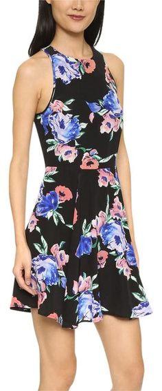 Yumi Kim Black Floral Printed Blue Silk Swingy Fit N Flare Mini Dress