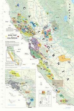 Beautiful Wine Map of California