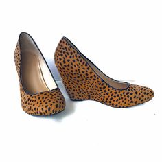 "Banana Republic Animal Print Calf Hair Heels SZ 8 ❌NO TRADES❌  - Banana Republic Cheetah Animal Print Calf Hair Wedges Heels Sz 8  -Tan & Black Printed Calf Hair (see 2-4th photos for actual color shades).  - Approx 3.5"" wedge heel  - Great used condition. Some wear on back heel calf hair & soles Banana Republic Shoes Heels"