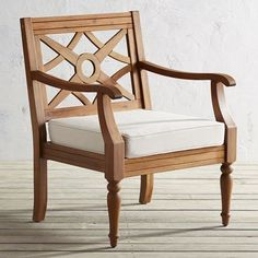 Turn your covered patio into a second living room with our Chiara armchair. Crafted of solid, easy-care acacia wood with turned legs and a beautiful natural finish, this easily could become the best seat in the house.