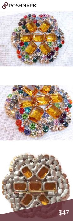 "Vintage Jewelry Czech Rhinestone Brooch Stunning, Vintage Multicolor Jewelry - Czech Rhinestone Brooch. Jewelry was made in Czech Republic. Size Approximately 3 1/2"" x 3"" Jewelry Brooches"