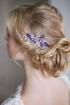 Купить Гребень свадебный синий Украшение свадебное для прически - тёмно-синий, гребень для волос