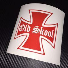 RED Old Skool Car Sticker Decal Retro Hot Rod Custom Chop Beetle Classic  #Ritrama