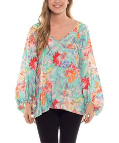 Another great find on #zulily! Coveted Clothing Mint Floral V-Neck Top by Coveted Clothing #zulilyfinds