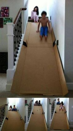 Diy Cardboard Slide ~When I was a kid, we did this! ***One improvement: make the cardboard about a foot narrower than the stair width, so that there is space for the kids to climb up on the stairs rather than the cardboard slide. We wrecked the cardboard trying to climb back up on it.~KM
