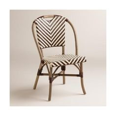 Cost Plus World Market Brown and Cream Clarabella Cafe Chairs ($280) via Polyvore featuring home, furniture, chairs, dining chairs, brown, brown chair, off white dining chairs, zig zag chair, woven dining chairs and beige dining chairs