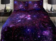 Amazing Shining Purple Galaxy Print 4-Piece Duvet Cover Sets