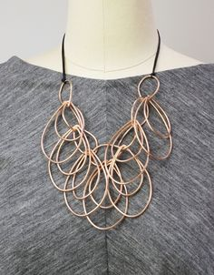 Iris necklace // bronze and leather statement necklace