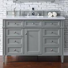 "James Martin Furniture Brittany 48"" Single Urban Gray Bathroom Vanity Set"