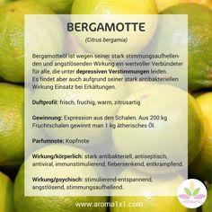 Bergamotteöl ist wegen seiner stark stimmungsaufhellen-den und angstlösenden Wirkung ein wertvoller Verbündeter für alle, die unter depressiven Verstimmungen leiden.  Es findet aber auch aufgrund seiner stark antibakteriellen Wirkung Einsatz bei Erkältungen.