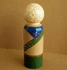 back of Eagle Scout Peg Doll Wood. $55.00, via Etsy.