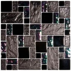 Merola Tile Garden Versailles Iris 11 3/4 in. x 11 3/4 in. Ceramic and Glass Wall Tile