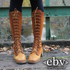 Vintage 70's Brown Leather Lace Up Hippie Boho Campus Riding Knee Boots