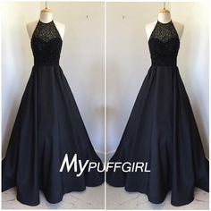 Fabric: SatinColor: BlackSilhouettes:A LineNeckline: HalterBack Detail: Low BackLength:Floor LengthEmbellishments:BeadingProcessing time: 18-20 working daysShipping time:4-5 working daysFor Custom Size or color, Please leave following measurement, You can find a message box in the shopping cart, leave your custom size, Thank You.Bust: _______Waist: _______Hips: _______Shoulder to floor: _______Shoulder to shoulder: _______