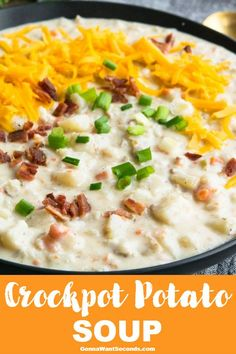 Crockpot Potato Soup Crockpot Potato Soup is a flavorful fix it & forget it meal that's perfect for a cold winter's day! Velvety, thick, & creamy, it's a hearty family favorite! Slow Cooker Potato Soup, Crock Pot Potatoes, Loaded Potato Soup, Creamy Potato Soup, Crock Pot Slow Cooker, Crockpot Baked Potato Soup, Potato Bacon Soup, Loaded Baked Potatoes, Panera Potato Soup Recipe Crock Pot