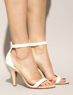 Beige and white patent strappy heels  Jeffrey Campbell $112