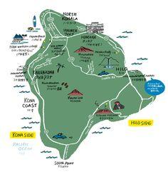 Hawaii map by Naho Ogawa