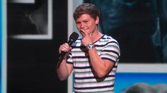 Golden Buzzer winner Drew Lynch lightens the mood of the evening with a one-of-a-kind comedy set in hopes of moving on to the next round.