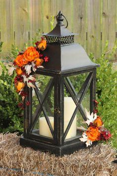 Fall/Autumn Lantern Centerpiece- Autumn Wedding, Thanksgiving Centerpiece by LittleBitMyStyle on Etsy