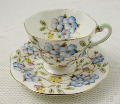 Foley Tea Cup and Saucer in Springdale Pattern, Bone China Floral Chintz Blue Flowers, English Bone China