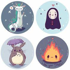 Chibi Ghibli Stickers and Prints, Haku, No Face, Totoro, Calcifer Cute Kawaii Drawings, Cute Animal Drawings, Kawaii Art, Kawaii Chibi, Kawaii Doodles, Cute Chibi, Studio Ghibli Art, Studio Ghibli Movies, Film Animation Japonais