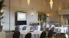 Enjoy your next conference in The Ballroom at The Angel Hotel, Abergavenny Next Conference, Tables, Angel, Table Decorations, Furniture, Home Decor, Mesas, Decoration Home, Room Decor