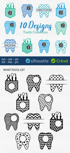 Dentist svg monogram frames svg Tooth initial border by PlayCut