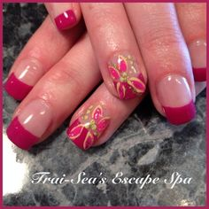 Hand Painted Tropical Flowers by TraiSeasEscape from Nail Art Gallery