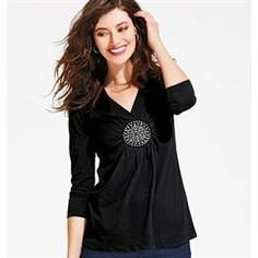 Medallion-Accented Top in Black  http://www.youravon.com/srudek
