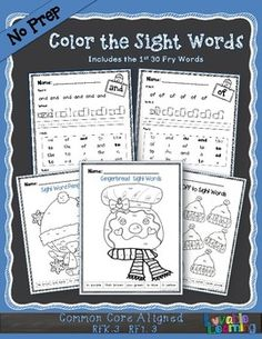Allow students to explore the first 30 Fry Sight Words with various fonts!  Each color the sight word page is full of different fonts to help children master these necessary words.  There is also an activity page for each sight word to aid in learning the words!