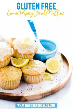 These gluten free lemon poppy seed muffins are a great breakfast recipe to make in the spring. They're super easy to make and can easily be made dairy free. They're packed with lemon punch with lemon juice, lemon zest, and lemon extract. And don't skip the lemon glaze! From @whattheforkblog | whattheforkfoodblog.com | gluten free muffin recipes | easy gluten free breakfast recipes | homemade lemon poppy seed muffins | #glutenfree #breakfast #muffins #lemon #lemonpoppyseed