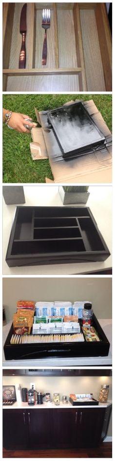 DIY Utensil organizer turned into tea & hot drinks tray ... * Tea * Coffee * Organize  * DIY * Drink Station