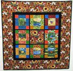 I designed this wall hanging quilt using the 2011 Sisters Outdoor Quilt Show panel by Kathy Deggendorfer.  The quilt is reversible with the main section of the panel on the reverse side...clever, huh?