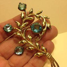 Vintage Marked Sterling Silver Gold Tone BLUE Rhinestone FLOWER BROOCH Pin #SterlingSilver
