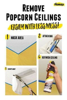 Easily Remove Popcorn Ceiling | The Homax Popcorn Ceiling Scraper provides a fast and  easy way to scrape away unwanted ceiling texture while helping you contain the mess. So don't worry about buying an outdated home with popcorn ceilings. You can easily and affordably remove it yourself. Click to learn tips and tricks from Homax® to help make tough home improvement tasks and repairs easier.