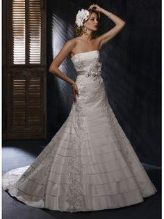 Metallic Taffeta Strapless A-line Wedding Dress