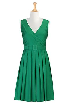 eShakti Belted fit-and-flare poplin dress. I swear I saw Elizabeth Taylor in a dress VERY similar to this one!
