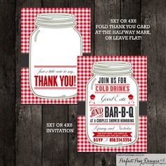 Couples Shower Barbecue Invitation and Thank you card combo, Barbeque, BBQ, Picnic Summer, Wedding Bridal (DIY Digital Printable) on Etsy, $26.00