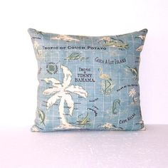 """Aqua Blue Indoor Outdoor Pillow Cover, 18"""" x 18"""" Decorative Cream Brown Accent Pillow, Tommy Bahama Throw Pillow"""