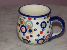Genuine Hand Made Polish Pottery 10 oz Medium Bubble Mug! Happy Happy Pattern!