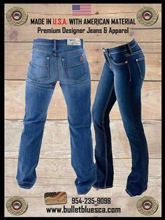 #BulletBlues are #MadeInUSA with American made materials. They are premium jeans. Both BB Babe and BB Nationalist come in 2 shades, 2 lengths. They both have the same premium fabric from Cone NC 995 cotton and 1% stretch for added comfort. www.bulletbluesca.com