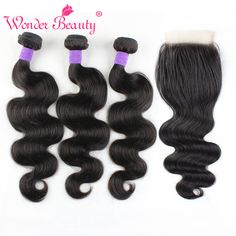 Brazilian Body Wave Hair With Closure 3 Bundles Wonder Beauty Virgin Human Hair With Free Part Middle Part 3 part Lace Closures http://jadeshair.com/brazilian-body-wave-hair-with-closure-3-bundles-wonder-beauty-virgin-human-hair-with-free-part-middle-part-3-part-lace-closures/ #HairWeftClosure(Bang)