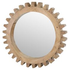 Featuring a cog-inspired design and natural wood frame, this eye-catching wall mirror brings handsome style to your parlor or hallway. Hang it alone for a ru. Oval Mirror, Round Mirrors, Cool Mirrors, Floor Mirror, Rustic Chic, Joss And Main, Modern Furniture, Cafe Furniture, Decorative Pillows